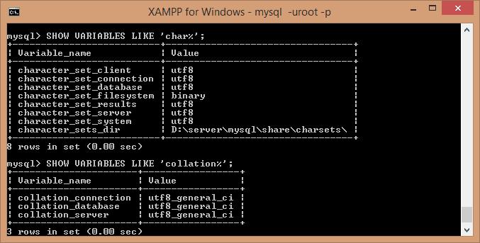 XAMPP MySQL charset